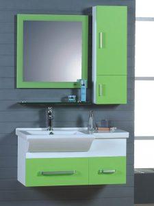 Porselen Lavabolu Yeşil Renk Banyo Dolabı Modeli