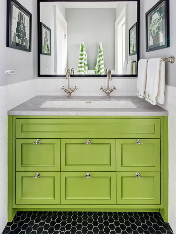 Çift Bataryalı Yeşil Renk Banyo Dolabı Modeli