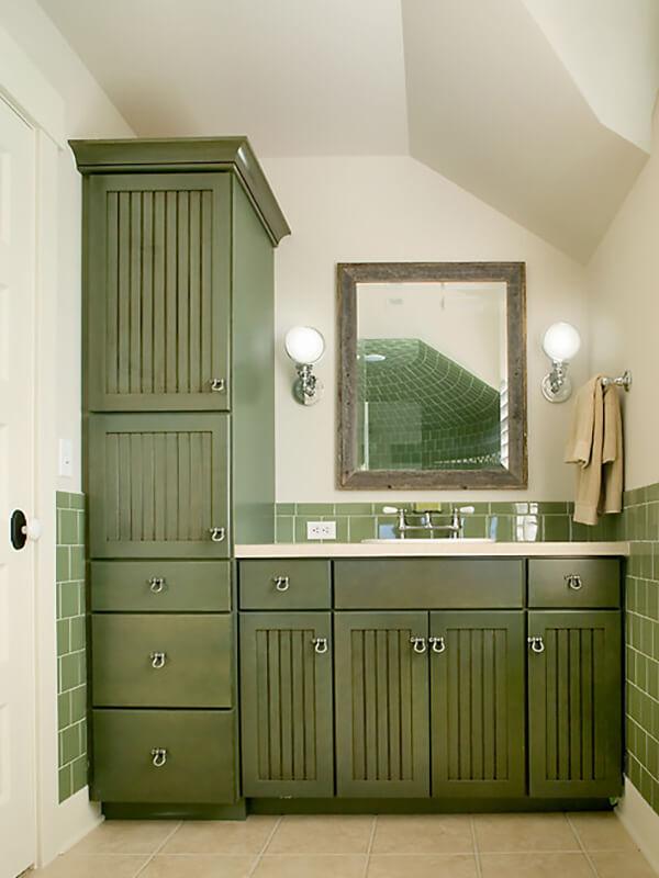 Derzli Kapaklı Yeşil Renk Banyo Dolabı Modeli