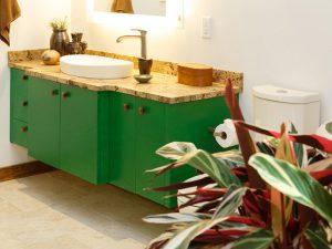 3 Çekmeceli Yeşil Renk Banyo Dolabı Modeli