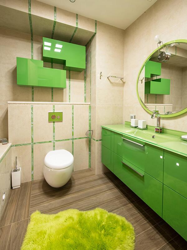 Minimal Yeşil Renk Banyo Dolabı Modeli