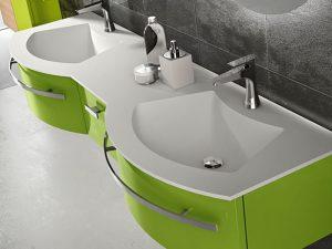 Bombe Kapaklı Yeşil Renk Banyo Dolabı Modeli