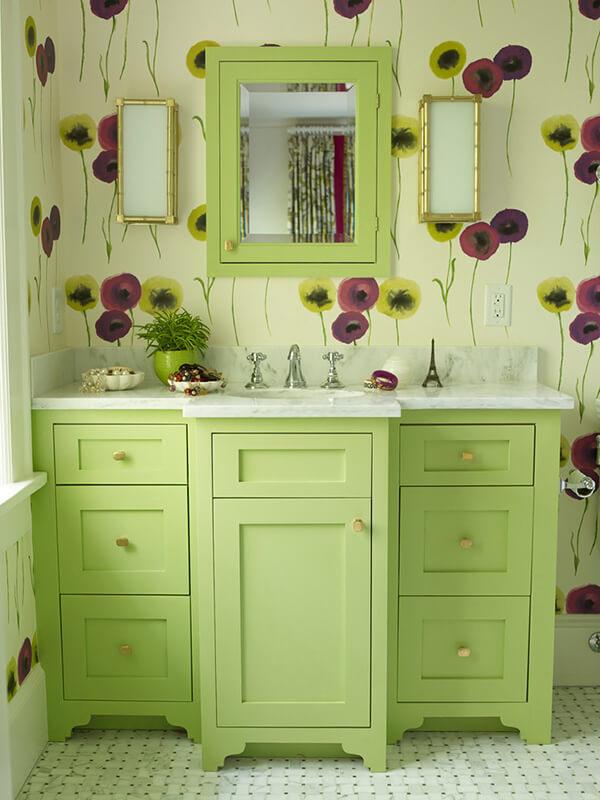 6 Çekmeceli Yeşil Renk Banyo Dolabı Modeli