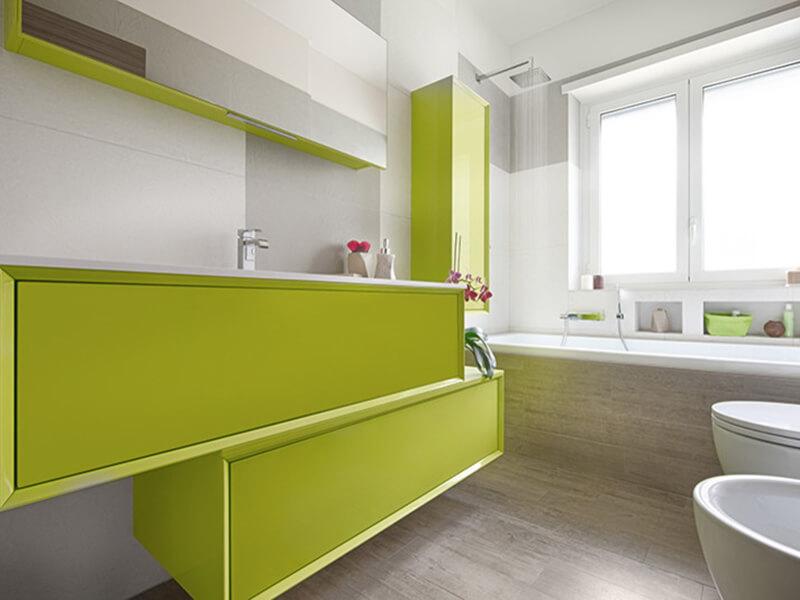 Uzun Yeşil Renk Banyo Dolabı Modeli