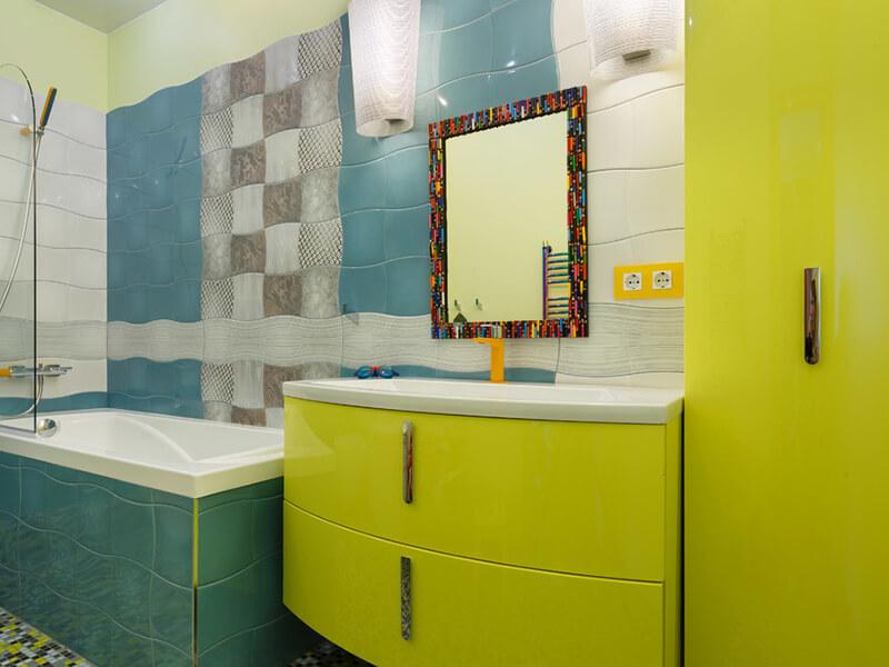 Bombe Kapaklı Dikey Kulplu Yeşil Renk Banyo Dolabı Modeli