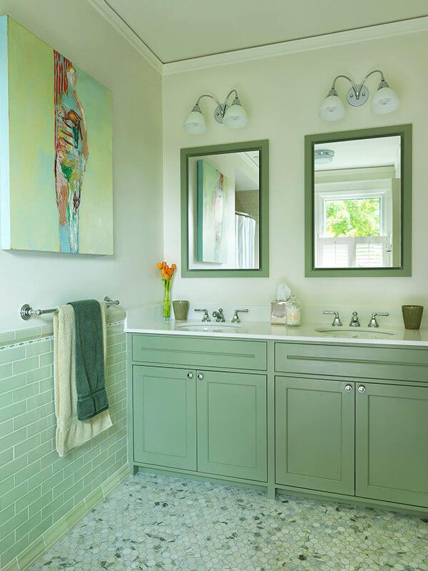 Çift Aynalı Yeşil Renk Banyo Dolabı Modeli