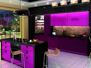 mor siyah mutfak dolabı modeli