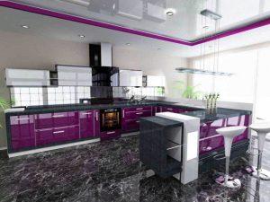 mor beyaz mutfak dolabı modeli
