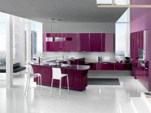 minimalist mor mutfak dolabı modeli