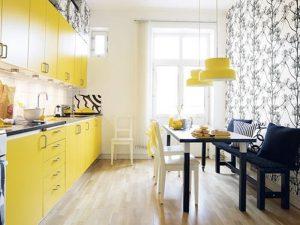 açık sarı mutfak dolabı