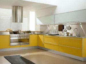 cam kapak sarı mutfak dolabı