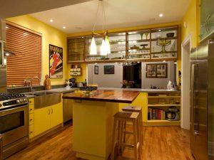 kahverengi sarı mutfak dolabı