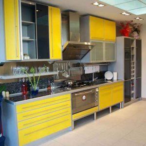 siyah sarı mutfak dolabı