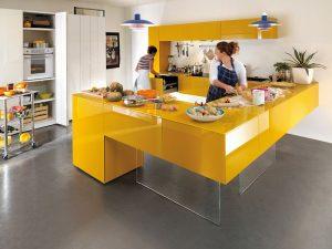 modern sarı mutfak dolabı