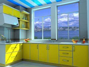 krom kulplu sarı mutfak dolabı