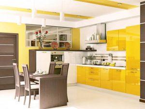 parlak sarı mutfak dolabı