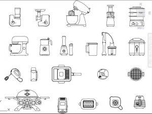 mutfak autocad ekipmanları dwg