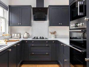 Gri Mutfak Dolabı Beyaz Tezgah Örneği