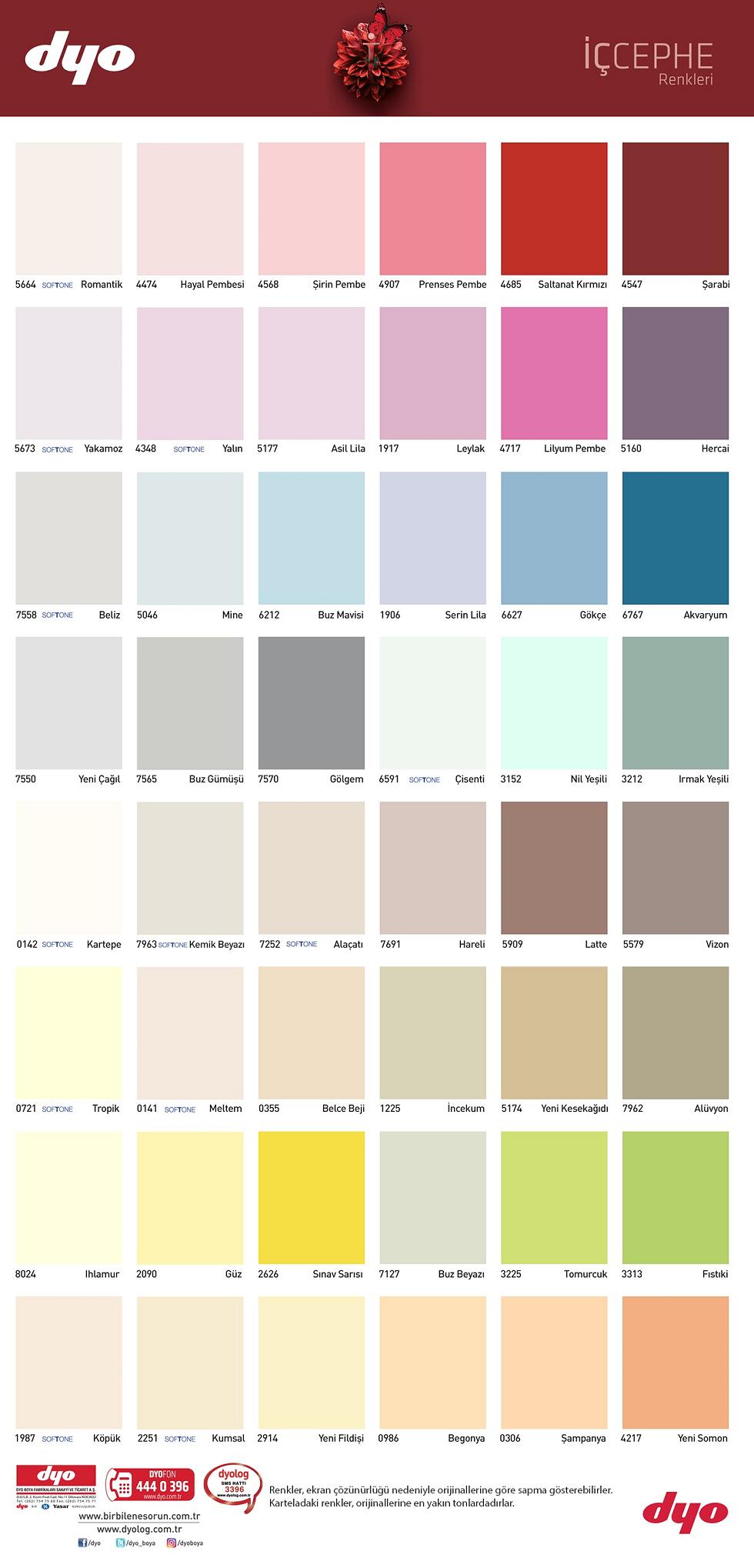 Dyo Boya Renkleri