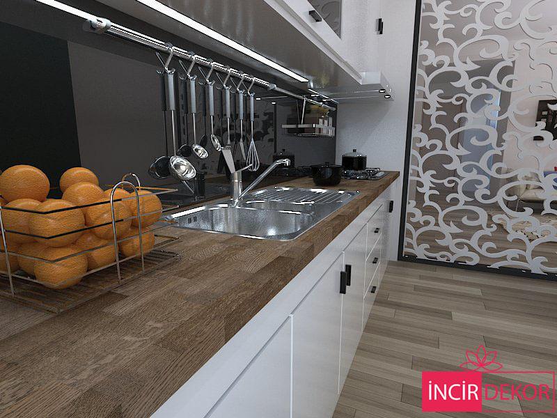 Black Rengi Ahşap Mutfak Tezgahı