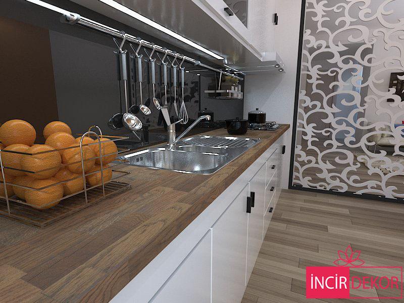 Havannah Rengi Ahşap Mutfak Tezgahı