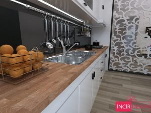 Mahogany Rengi Ahşap Mutfak Tezgahı
