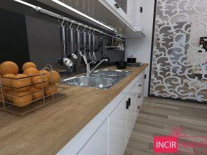 Walnut Rengi Ahşap Mutfak Tezgahı