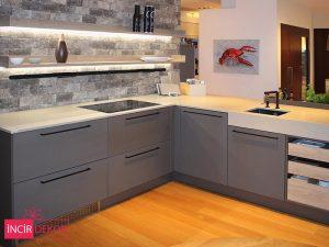 Akrilik Antrasit Mutfak Dolabı Modeli 1