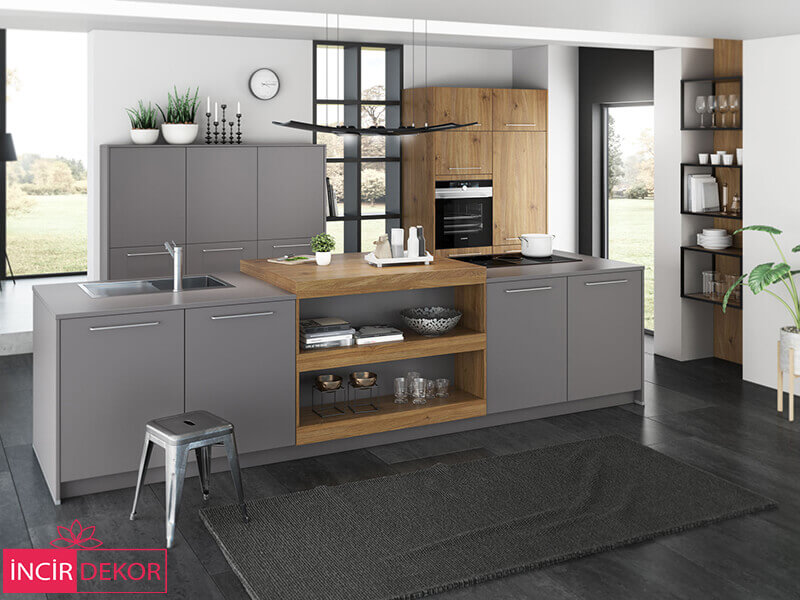 Akrilik Antrasit Mutfak Dolabı Modeli 3