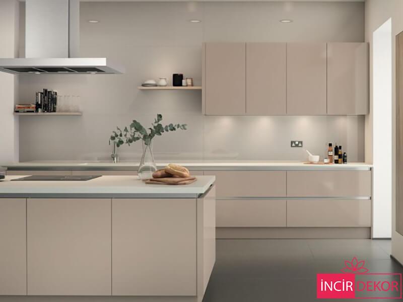 Akrilik Bej Mutfak Dolabı Modeli 1