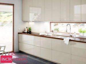 Akrilik Bej Mutfak Dolabı Modeli 4