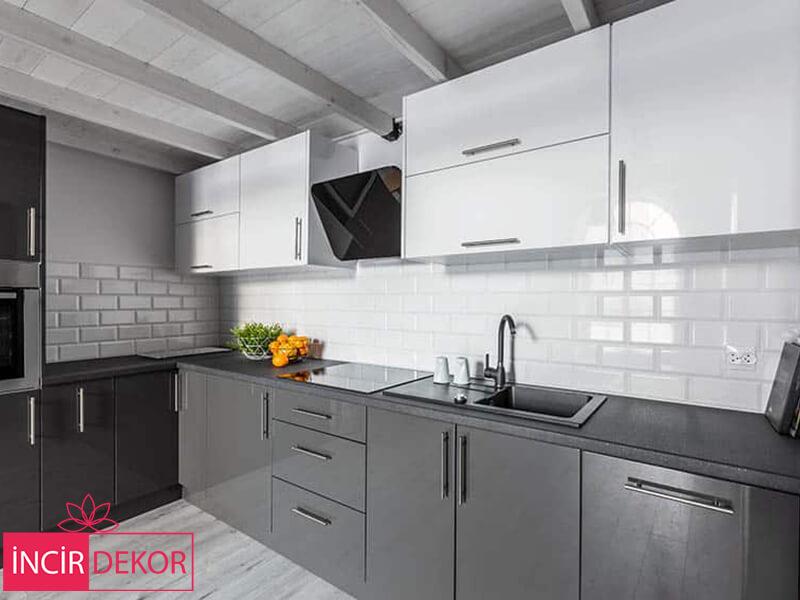 Akrilik Beyaz Gri Mutfak Dolabı Modeli 1