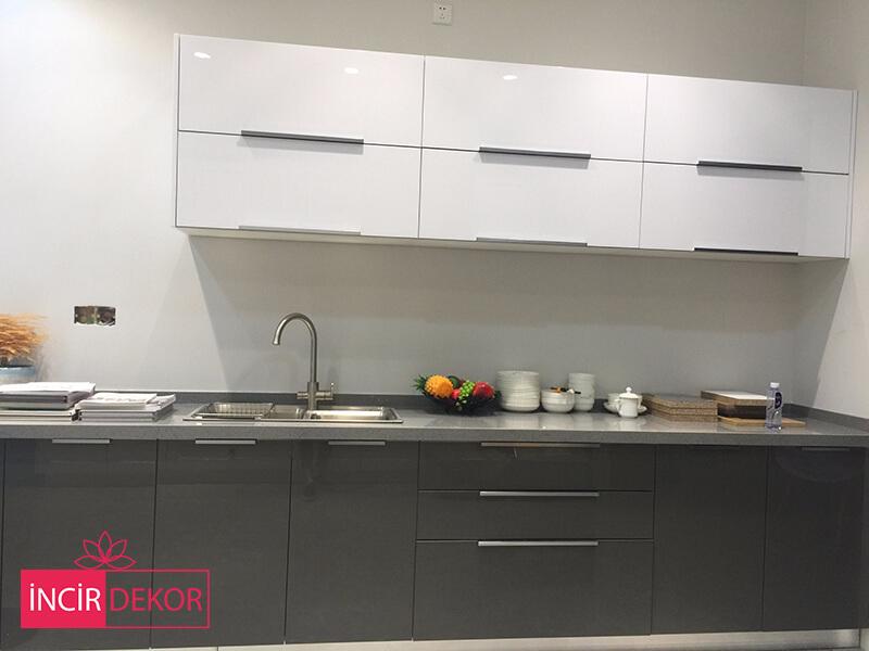 Akrilik Beyaz Gri Mutfak Dolabı Modeli 2