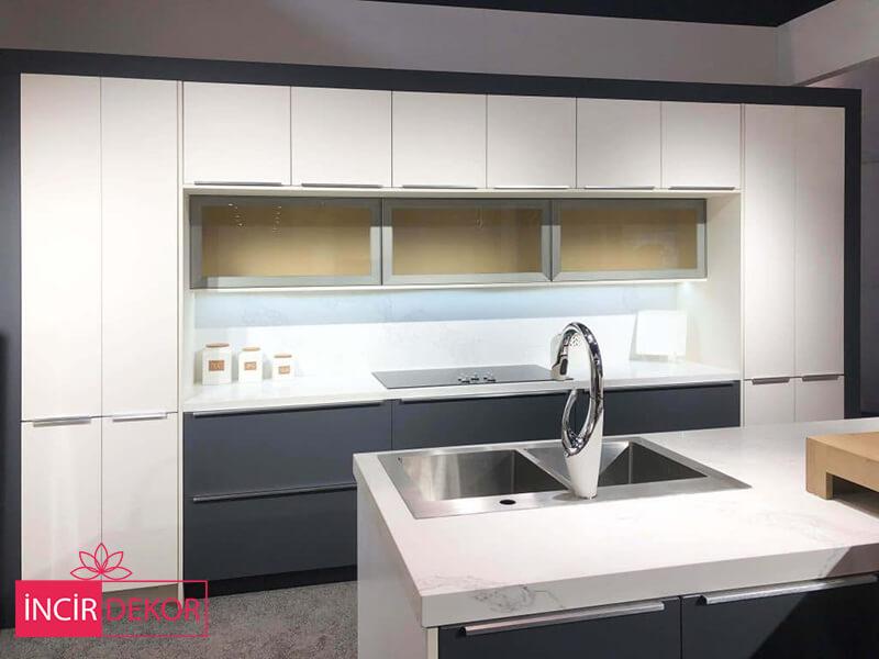 Akrilik Beyaz Gri Mutfak Dolabı Modeli 3