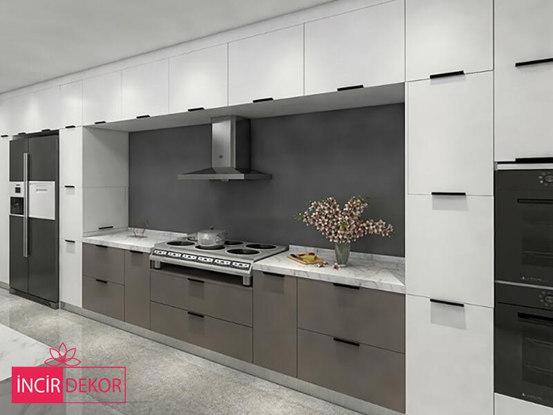 Akrilik Beyaz Gri Mutfak Dolabı Modeli 4