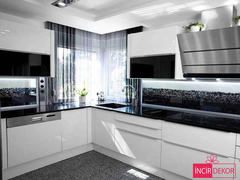 Akrilik Beyaz Mutfak Dolabı Modeli 1