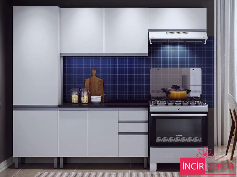 Akrilik Beyaz Mutfak Dolabı Modeli 4
