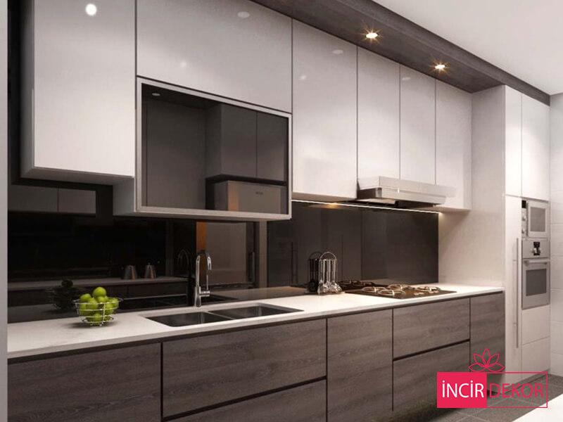 Akrilik Beyaz Mutfak Dolabı Modeli 6