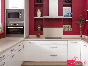 Akrilik Bordo Beyaz Mutfak Dolabı Modeli 3