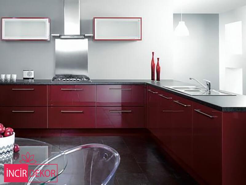 Akrilik Bordo Mutfak Dolabı Modeli 3