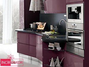 Akrilik Bordo Mutfak Dolabı Modeli 4