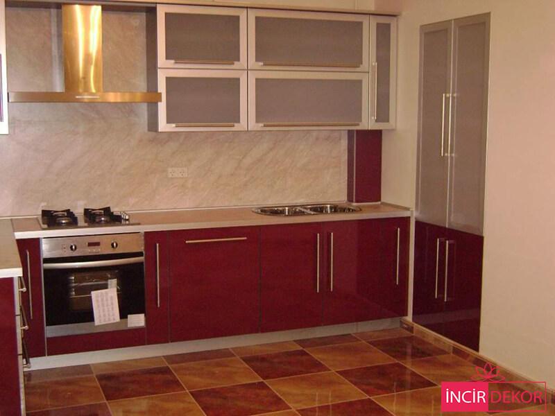 Akrilik Bordo Mutfak Dolabı Modeli 5