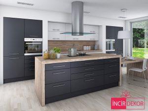 Akrilik Gri Mutfak Dolabı Modeli 1