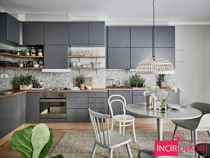 Akrilik Gri Mutfak Dolabı Modeli 10