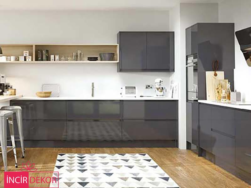 Akrilik Gri Mutfak Dolabı Modeli 12