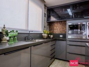 Akrilik Gri Mutfak Dolabı Modeli 2