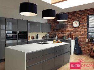 Akrilik Gri Mutfak Dolabı Modeli 3