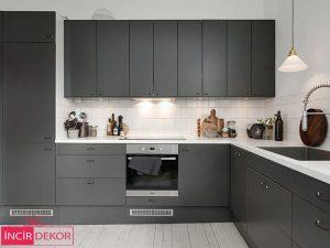 Akrilik Gri Mutfak Dolabı Modeli 4