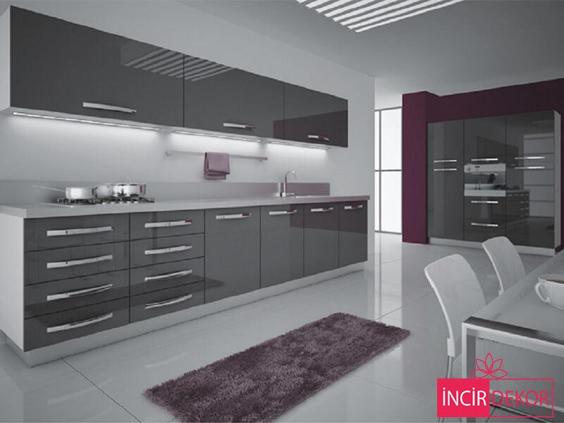 Akrilik Gri Mutfak Dolabı Modeli 6