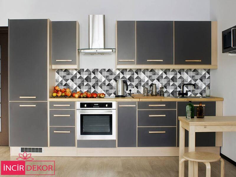 Akrilik Gri Mutfak Dolabı Modeli 9